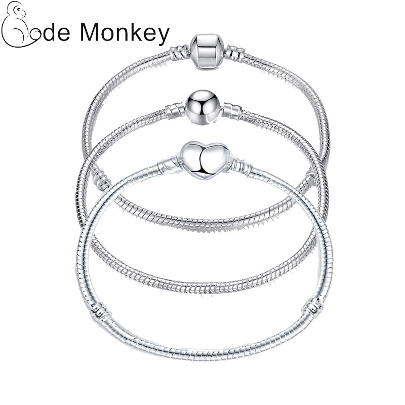 17-21cm Silver Color Love Snake Chain Bracelet Fit Original Design Beads Charm DIY Bead Bangles Jewelry Making Fashion Gift