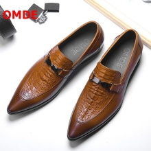OMDE Summer Pointed Toe Mens Dress Shoes Genuine Leather Slip On Formal Shoes Men Business Leather Shoes Loafers Wedding Shoes akamatsu embossed genuine leather formal business men shoes square toe slip on men dress loafers black office men shoes
