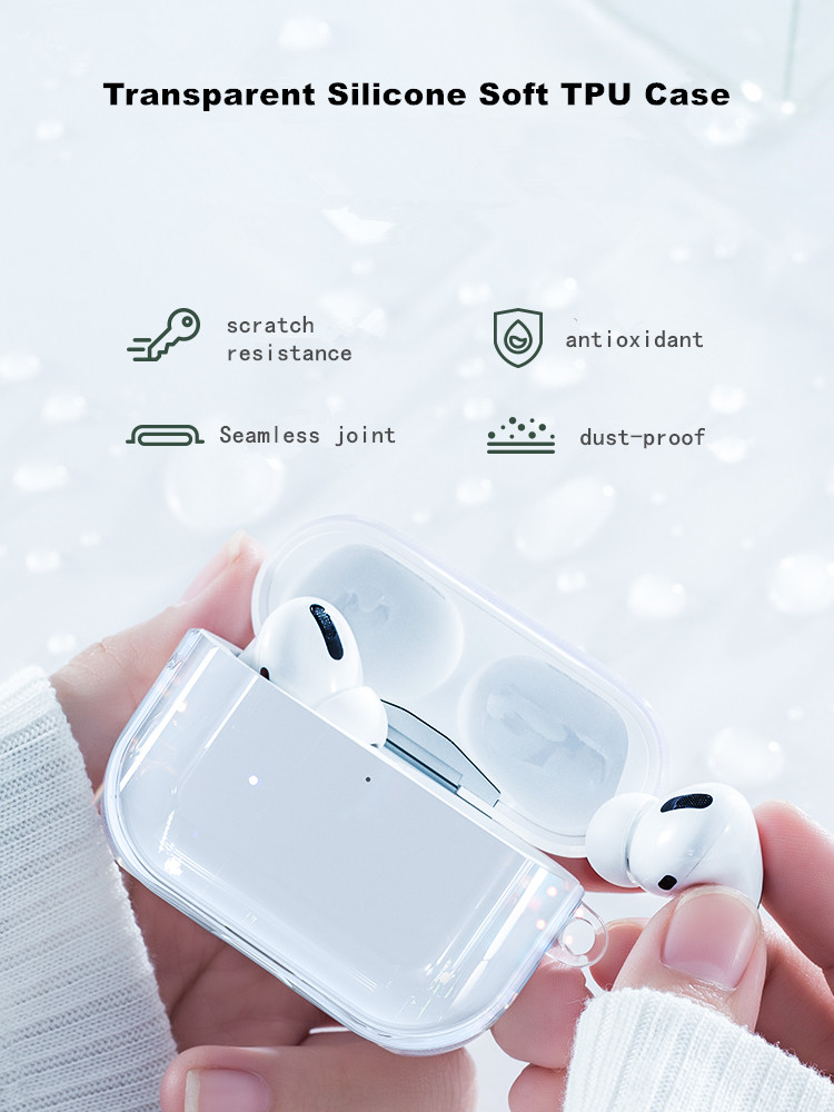Transparent Silicone Soft TPU Case For AirPods Pro Air Pods Clear Silicone Earphone Case For AirPods 2 1 Ultrathin Cover Earbuds