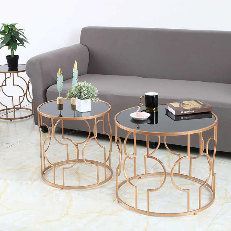 creative round home living room coffee table nordic wrought iron glass coffee table hotel apartment home modern