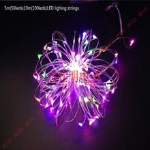 LED lighting strings 5m 50led 10meter 100leds Transparent line lamp 4.5V Three no5 batteries Highlight led twinkle light