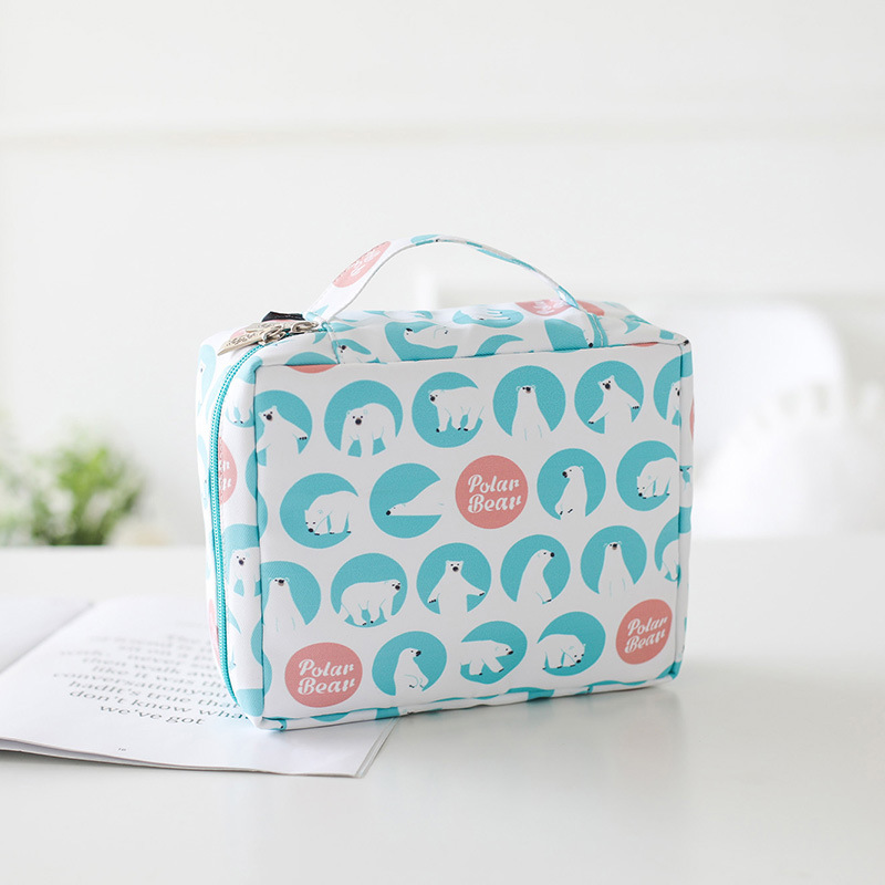 Womens Make Up Bag Small Cosmetic Pouch Cute Bear Print Wash Bag  Storage For Toiletry Beauty Organizer Inside With Mesh Packets
