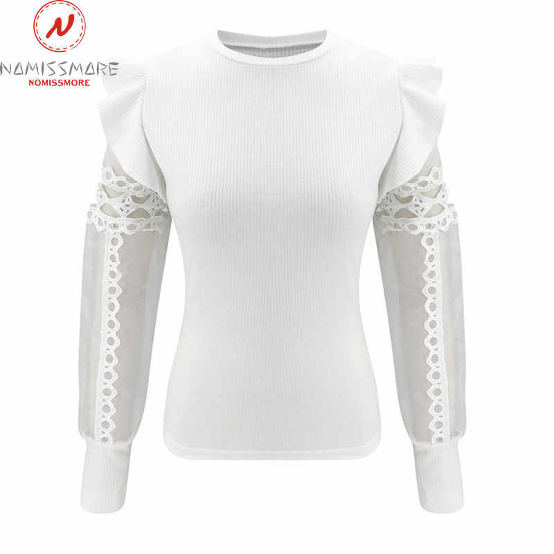 Moda mujer primavera otoño camisetas malla diseño de retales encaje con volantes decoración ver a través o-cuello de manga larga sólido pulóveres Top