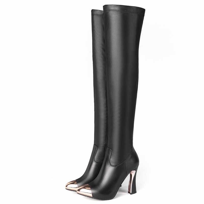 FEDONAS métal femmes bout pointu sur le genou bottes hautes en cuir véritable talons minces fête chaussures de danse femme hiver bottes chaudes