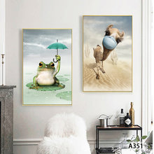 Affiches et imprimés de dessin animé de grenouilles et d'alpagas, décoration murale pour chambre d'enfant et bébé