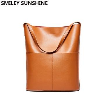 Tote Bags For Women  Handbag Genuine Leather Hand Bag Shoulder 2pcs Set Fashion Shopping Bucket Large Composite Sac A Main - discount item  48% OFF Women's Handbags