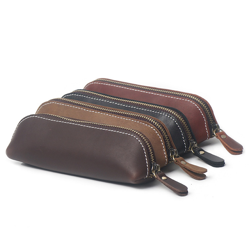 100% Handmade Genuine Leather Pen Case Vintage Retro Cowhide Zipper Pencil Case Pen Bag Glasses Case Office Stationery Gift