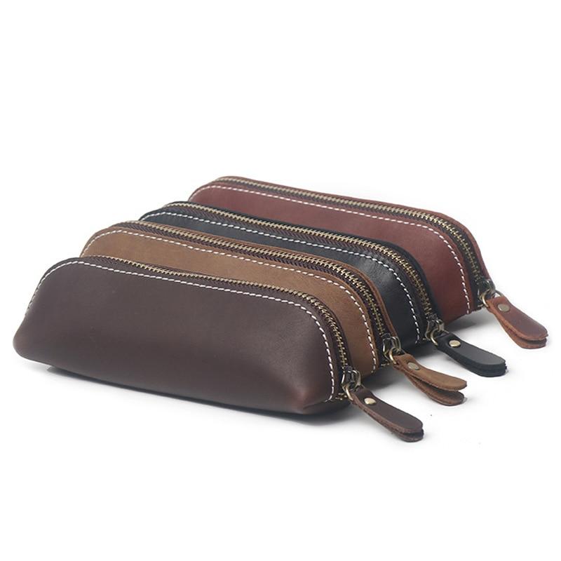 100% Handmade Genuine Leather Pen Case Vintage Retro Cowhide Zipper Pencil Case Pen Bag Glasses Case Office Stationery Gift