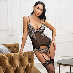 Lace Embroidery Sexy Lingerie Set Women Bodysuit Sexy Lingerie With Garter Jumpsuit Underwear Hot Erotic Bielizna Damska