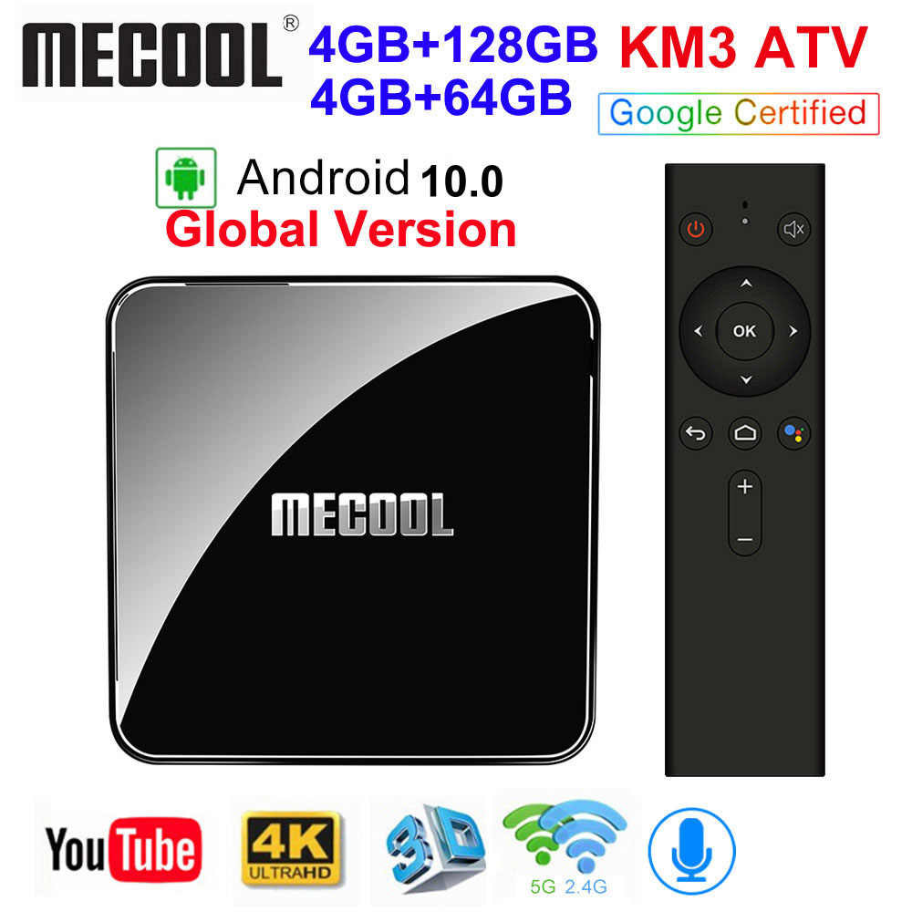 MECOOL KM3 ATV Androidtv Google certifié Android 10 TV Box Android 9.0 4 go 64 go Amlogic S905X2 4K 5G double Wifi KM9 PRO 4 go 32 go
