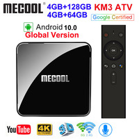 MECOOL KM3 ATV Androidtv Google Certified Android 10 TV Box Android 9.0 4GB 64GB Amlogic S905X2 4K 5G Dual Wifi KM9 PRO 4GB 32GB