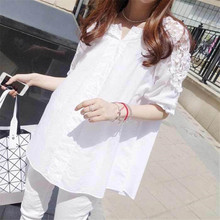 Summer Chiffon Lace Maternity Blouses Half Sleeve Shirt Blouses for Loose Pregnant Women Clothes Pregnancy Clothing Plus Size floral print button detail womens tops and blouses 2020 summer casual o neck lace half sleeve tunic women plus size tee shirt