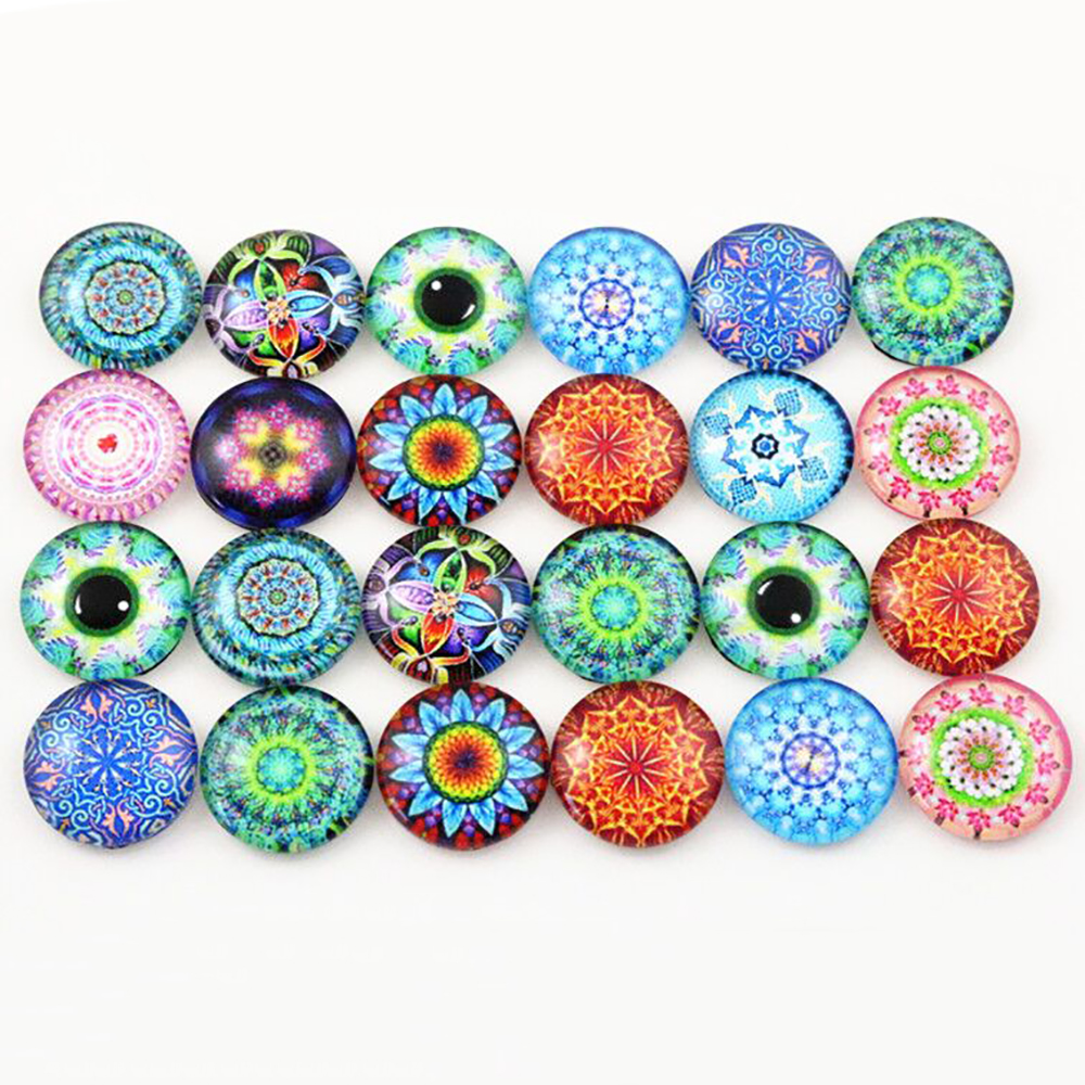 20pcs 16mm  Mixed Flower And Tree Handmade Photo Glass Cabochons Fit 16mm Cabochon Base Rings And Earrings Setting
