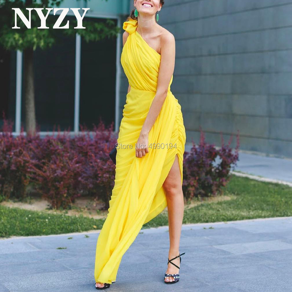 Chiffon Yellow Bridesmaid Dresses NYZY C232 Pleats One Shoulder Formal Dress For Party Prom Cocktail Evening Homecoming
