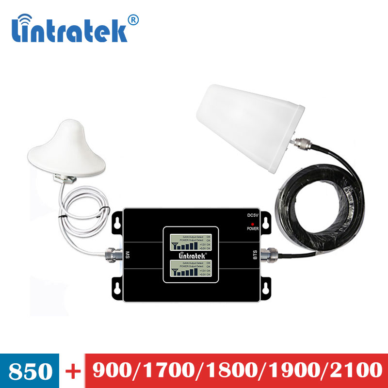 Lintratek dual band UMTS cdma 850 3G 1800 4G 1700 1900 signal booster 2100mhz mobile phone <font><b>850mhz</b></font> <font><b>repeater</b></font> amplifier set LCD s7 image