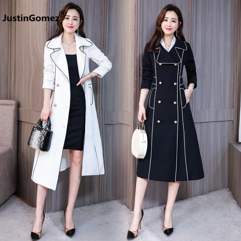 Women's Coat 2019 Over Knee Length Double-breasted   Trench   Coat Made of High Quality Materials Winter Coat Gabardina Mujer   Trench