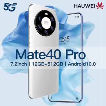 Oryginalny hauwei Mate 40 Pro 12GB + 512GB smartphoens 7 2 HDinch android 10 0 telefonów komórkowych 5600 mAh telefonów komórkowych 10-core Face ID tanie i dobre opinie Niewymienna CN (pochodzenie) Rozpoznawanie tęczówki Rozpoznawanie odcisków palców w ekranie Rozpoznawanie twarzy Z przodu