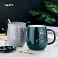 Креативная керамическая кружка EWAYS 450 мл  специальная кружка с прорезями для завтрака  кружка для домашнего офиса  необычный подарок для пои...
