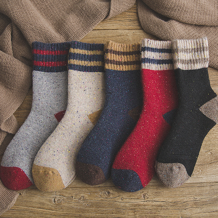 Толстые махровые шерстяные носки для женщин на осень и зиму с полосками в горошек теплые рождественские носки 092904