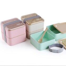 اليابانية 1400 مللي الإبداعية طبقة مزدوجة علب الاغذية سعة كبيرة المايكرويف الغداء صندوق بنتو أواني الطعام القمح القش Lunchbox
