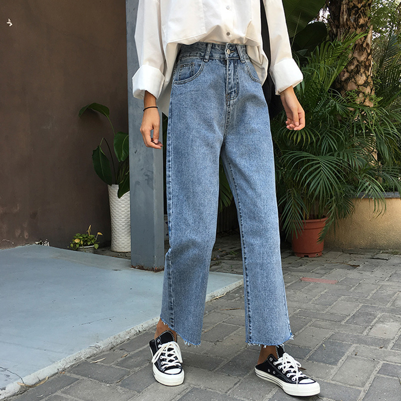 Vintage Women Denim Blue Jeans Trousers High Waisted Autumn Loose Wide Leg Pants High Street Elegant Jeans