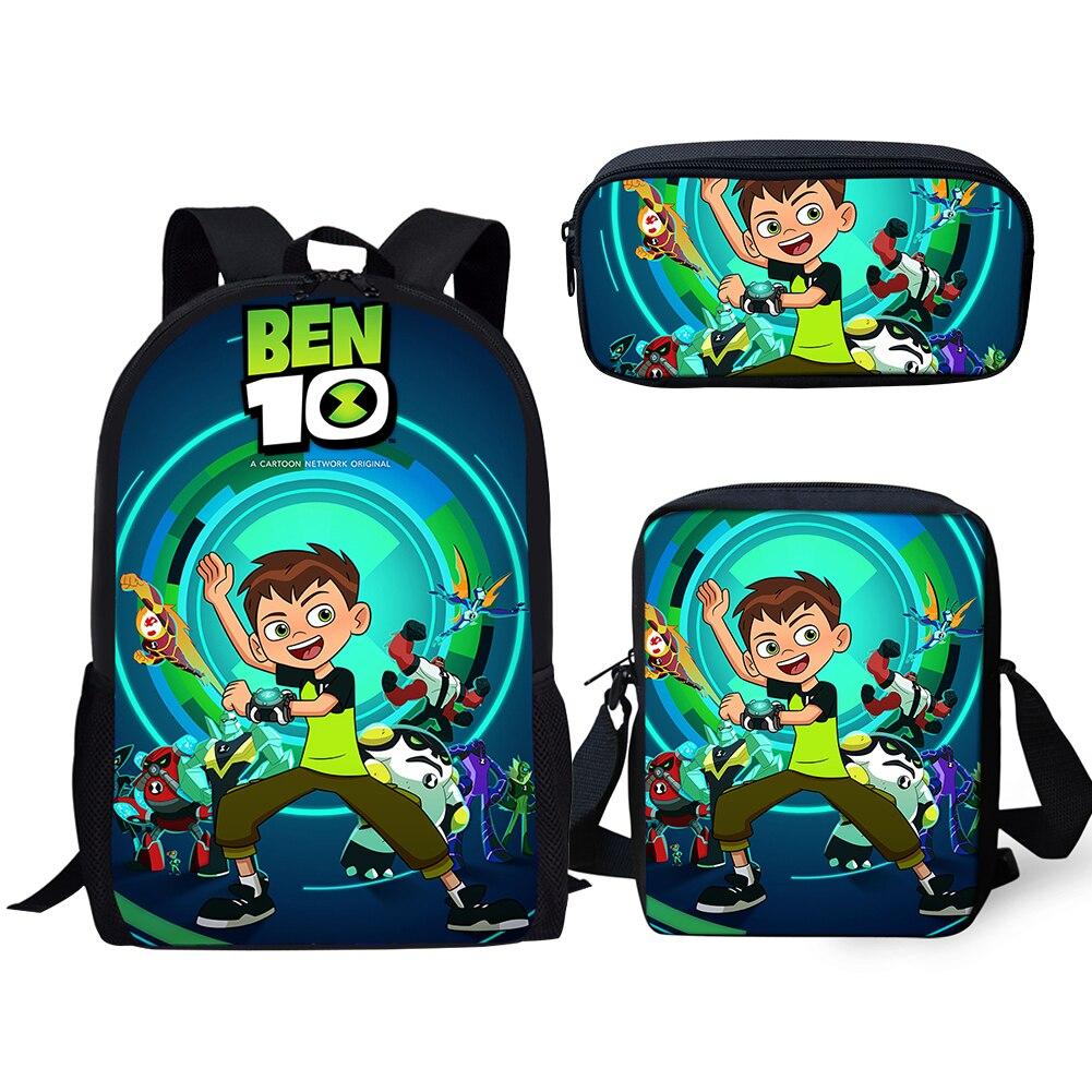 Ben 10 Cartoon 3D Print Children Travel School Backpacks Boy//Girl Shoulder Bags