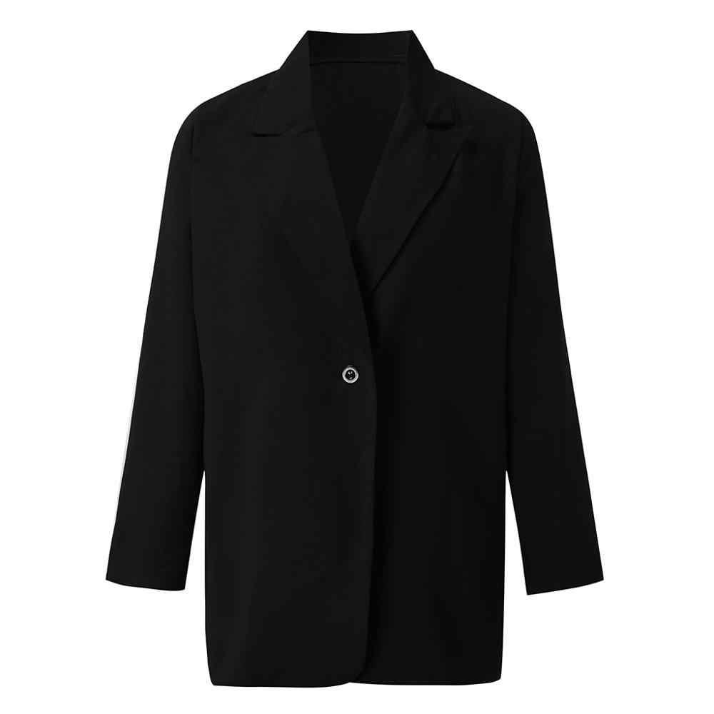 女性黒のブレザーオフィスジャケットラペル岬マントロングコートブレザー女性カジュアルオフィススーツ生き抜くブレザーファム #2S20