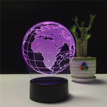 USB Night Light 3D Earth Globe Table Lamp Creative 7 Color LED Lamp Change Remote Control Bedside Decor for Kids Gift table decor color change best gift led night light