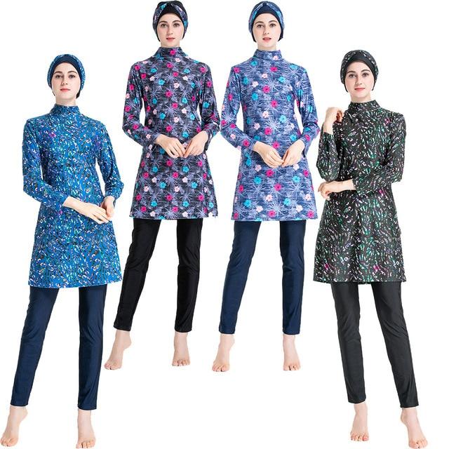 Islamic Womens Flower Printed Swimming Hijab Swimwear Modest Full Length Active Burkini Muslim Fitness Swimsuit Beach Clothes
