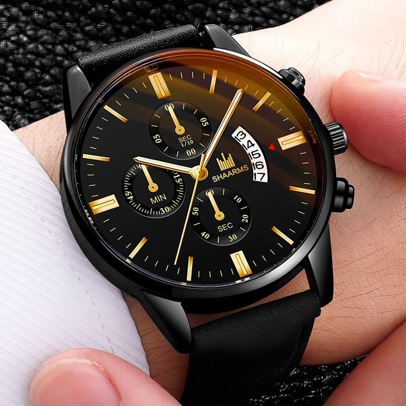 2020 Men Watch Black Casual Leather Band Quartz Wristwatch Male Fashion Sport Date Watches Relogio Masculino