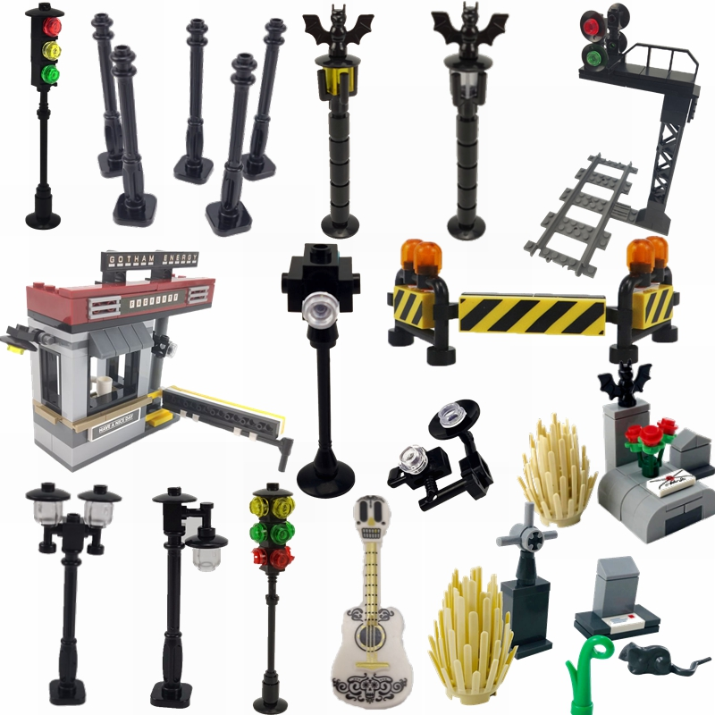 Creator Moc Bricks Traffic light Toy Model Plastic Road Traffic Light Model Miniature Children Game Play Fun Set Compatible City