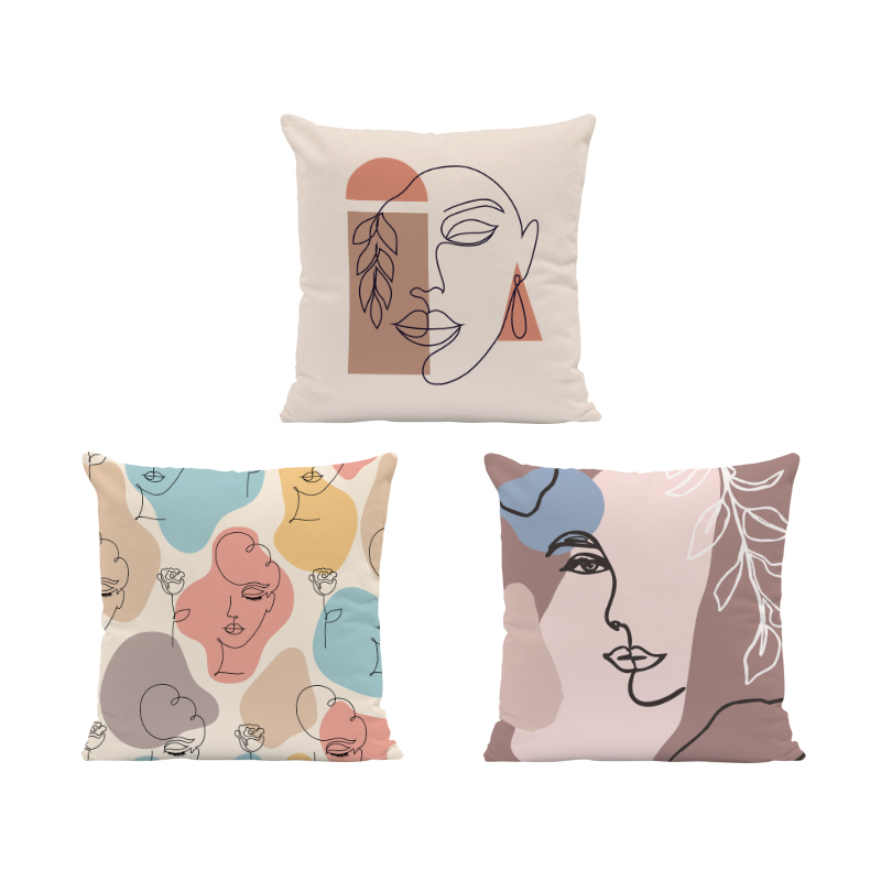 Creative Geometry Western Mythology Cushion Cover Fern Face Square Pillow Case Home Decoration Peach Skin Throw Pillow 45*45