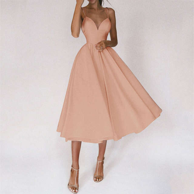 Tromlfz 2021 Women Sexy Ball Gown Prom Dresses New Lady Solid V Neck Backless Party Slip Casual Summer Elegant Slim Vestido 1