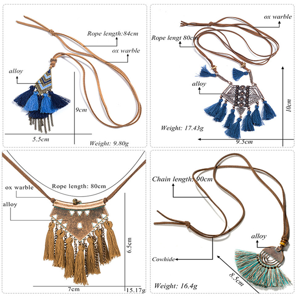 New bohemian female long tassel pendant necklace Vintage winter sweater cowhide chain necklaces women girl Statement jewelry