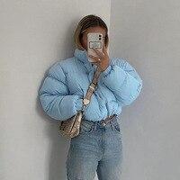 Chaqueta corta azul claro para invierno, Parkas cálidas, abrigos tipo burbuja, chaqueta recortada con cremallera, manga acolchada, prendas de vestir
