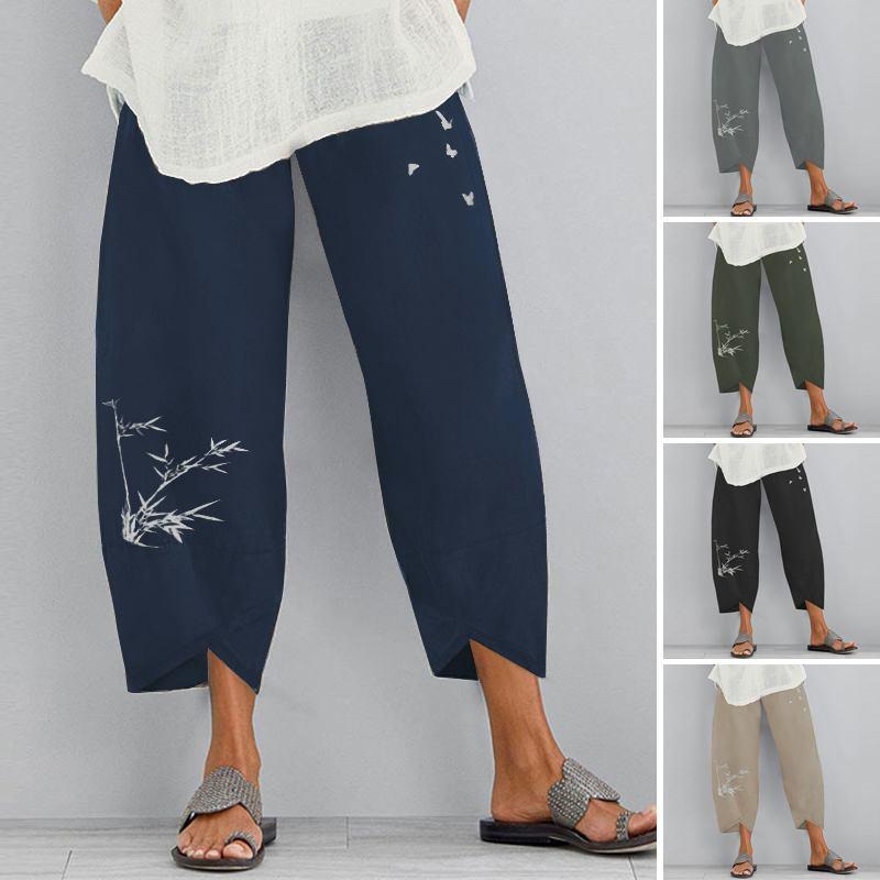 Kaftan Women's Printed Trousers 2021 ZANZEA Autumn Harem Pants Casual Elastic Waist Long Pantalon Palazzo Turnip Oversized 5XL