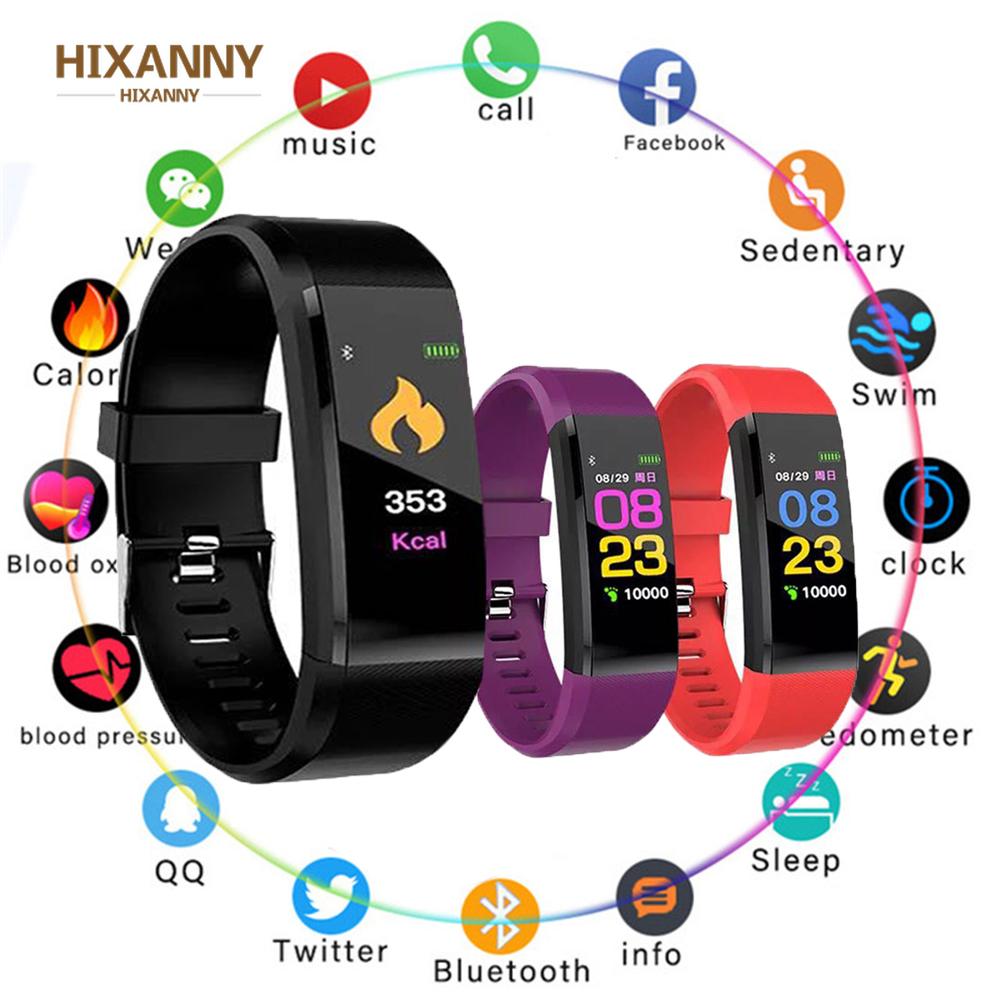 115 Plus Smart Wristband Smart Watch Fitness Tracker Heart Rate Monitor Band Tracker Smart Bracelet Waterproof Smartwatch
