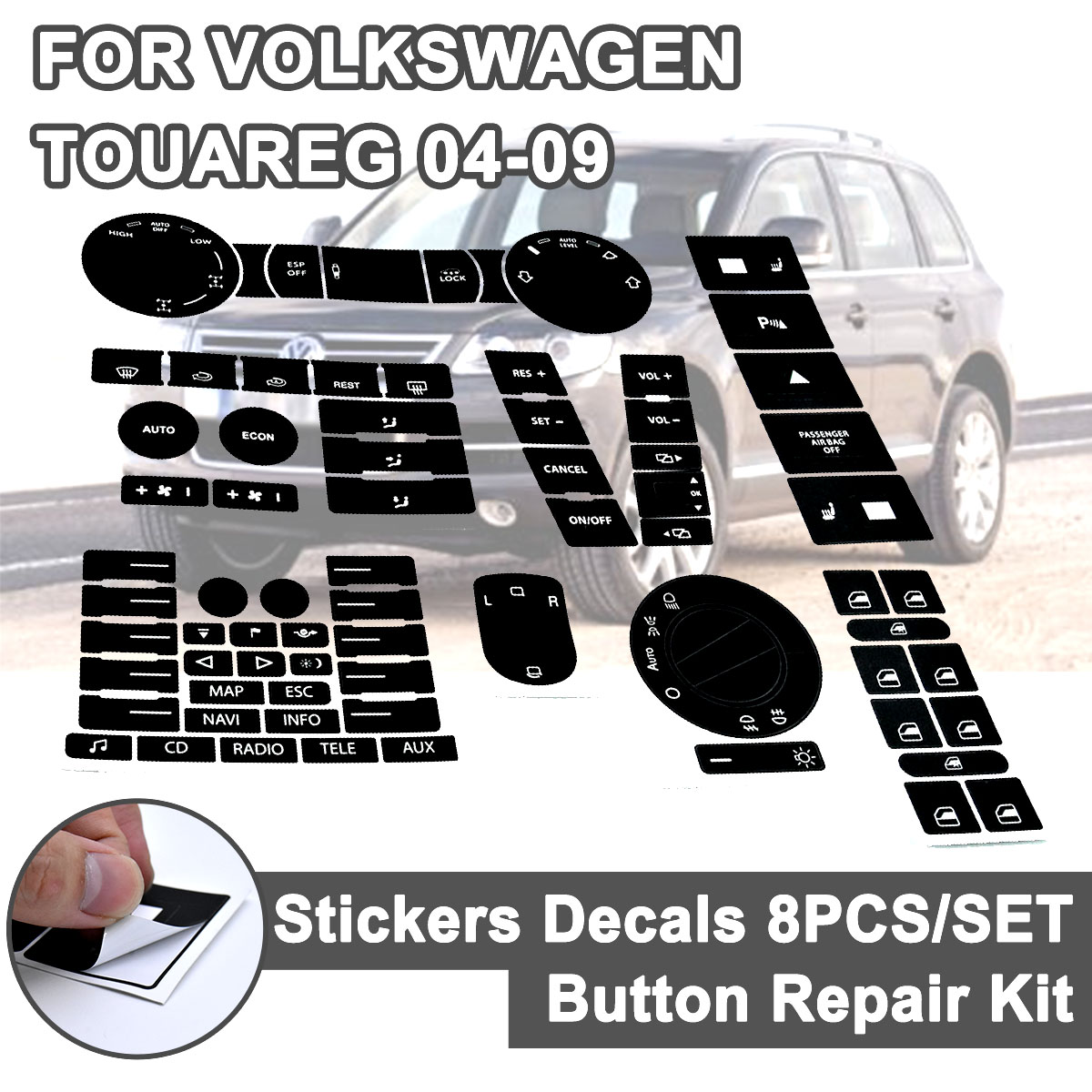 Image 2 - 8pcs for VW Steering Wheel Windows Headlight Climate Switch Car Stickers For Volkswagen Touareg 04 09 FWorn Button Repair Decals-in Car Stickers from Automobiles & Motorcycles