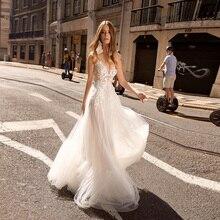 New Arrival Sexy Wedding Dresses Spaghetti Straps Sleeveless Flowy Tulle Bridal Wedding Dress Robe De Mariage mesh checkered flowy dress