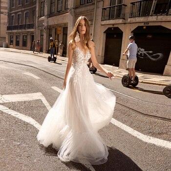 New Arrival Sexy Wedding Dresses Spaghetti Straps Sleeveless Flowy Tulle Bridal Wedding Dress Robe De Mariage цена 2017