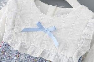 Image 3 - בנות שמלה חדשה סתיו אנגליה סגנון בנות בגדים ארוך שרוול משובץ ילדי בגדי ילדים שמלה עם פנינים 0 2Y