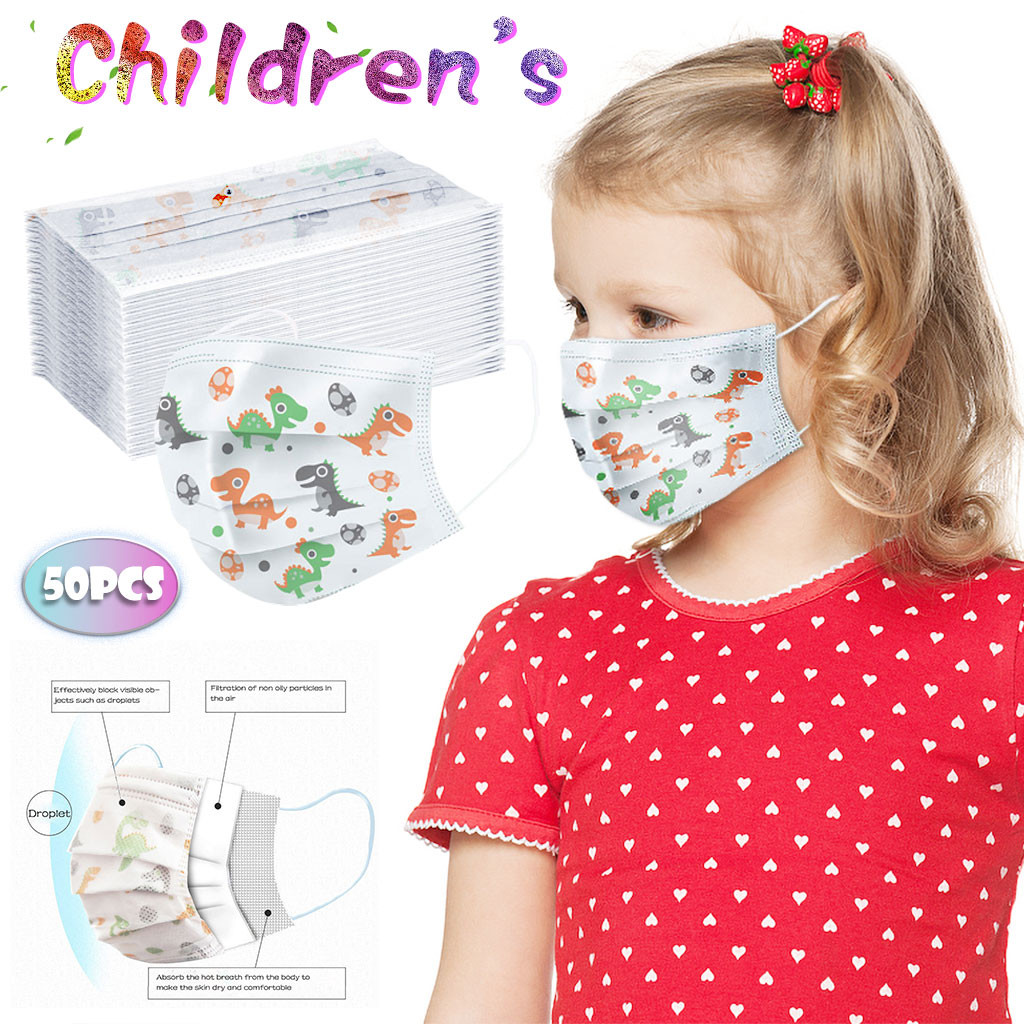 50 Pcs Children's Printed Face Mask 3 Layers Face Mask Kid Cute Face Breathable Disposable Cartoon Printed Mask 22g3