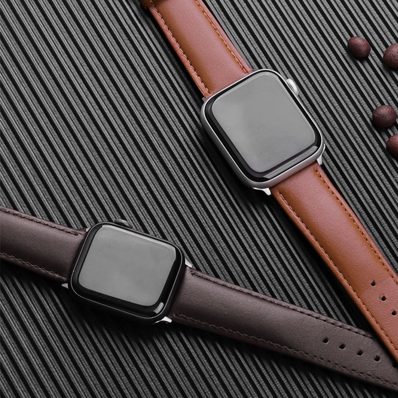 Brown Leather Band Loop Strap For Apple Watch 6 SE 5 4 3 2 1 38mm 40mm Men Leather Watch Band For Iwatch 5 44mm 42mm Bracelet