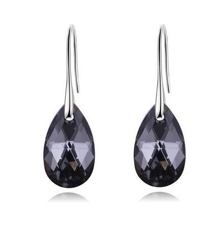Labekaka, стразы, капли воды, серьги для женщин, модные, украшенные кристаллами Swarovski, висячие серьги, вечерние ювелирные изделия - Окраска металла: silvery