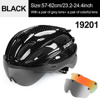 Black 2 Lenses-INBIKE Cycling Helmet with Goggles Ultralight MTB Bike Helmet Men Women Mountain Road casco Sport Specialiced Bicycle Helmets