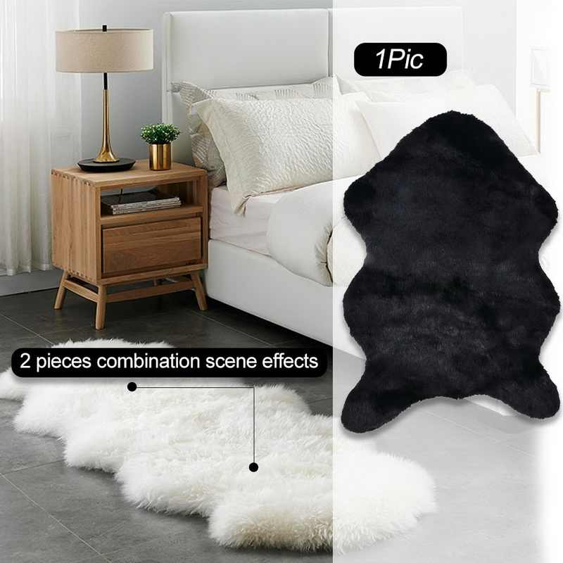 2020 Chair Cover Plain Skin Fur Soft Sheepskin Warm Hairy Carpet Seat Pad Plain Fluffy Rugs Washable Bedroom Faux Mat Home