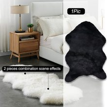 2020 Chair Cover Plain Skin Fur Soft Sheepskin Warm Hairy Carpet Seat Pad Plain Fluffy Rugs Washable Bedroom Faux Mat Home(China)