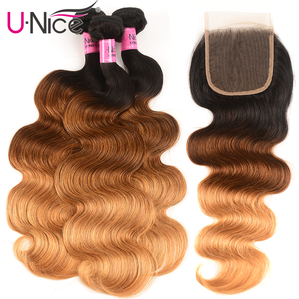 Unice Hair Peruvian Body Wave 3/4 Bundles with Closure T1B/4/27 Color Remy Human Hair Weaving Ombre Bundles With Closure