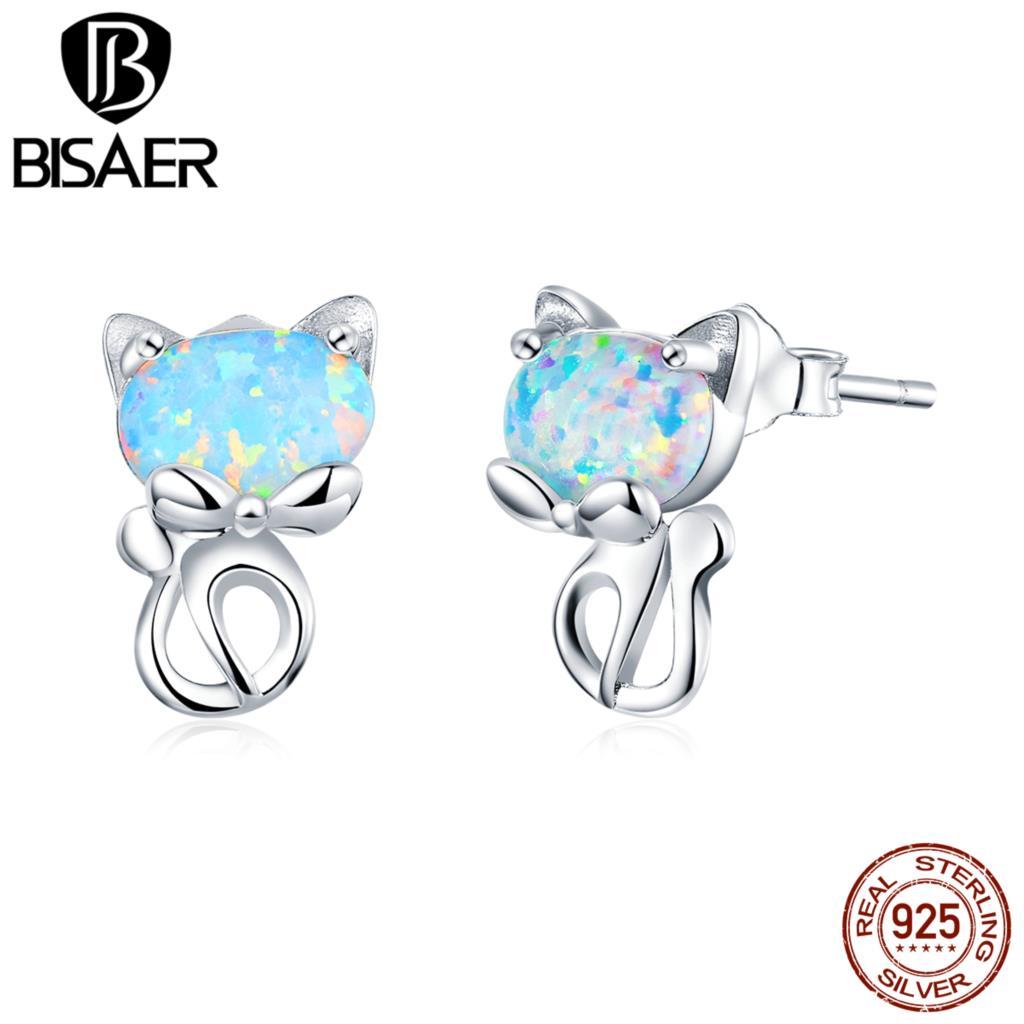 Opal Earrings BISAER 2020 New 925 Sterling Silver Opal Cat Pussy Stud Earrings Stud For Women Fashion Silver Jewelry ECE828