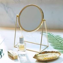 Espejo de maquillaje Ins vanidad Vintage Metal espejo cosmético regalo de San Valentín belleza chica maquillaje tocador mesa de tocador novia